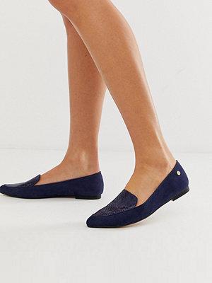 River Island Marinblå loafers med spetsig tå