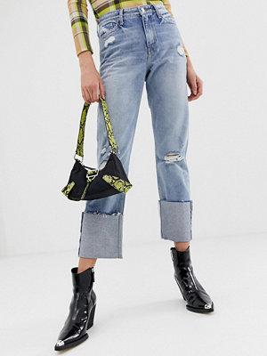 River Island Boyfriend-jeans med uppvikta ben Light auth