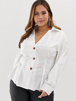 Skjortor - PrettyLittleThing Plus Vit skjortblus med veckad detalj