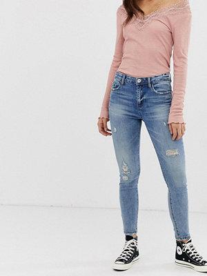 Stradivarius Ljusblå jeans med hög midja och smal passform