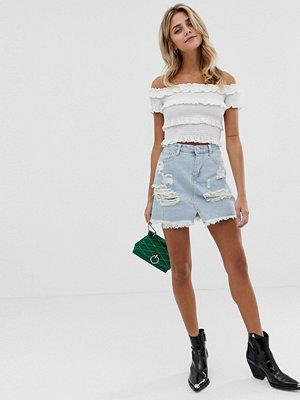 Glamorous Sliten jeanskjol Blekt