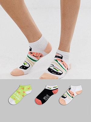 Sock Shop Wild Feet Sushi 3-pack träningsstrumpor i flera färger