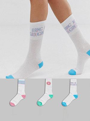 Strumpor - Sock Shop Wild Feet Doughnut 3-pack vita träningsstrumpor Vit