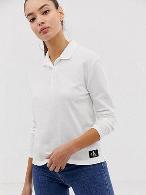 Calvin Klein Jeans Långärmad pikétröja Kritvit
