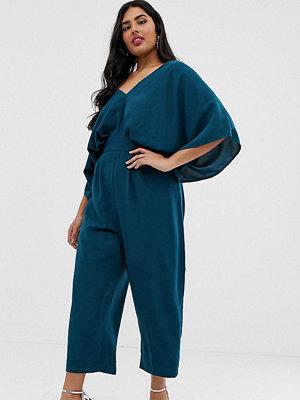 ASOS Curve Kurvig jumpsuit med kimonoärm och peg-ben Tealblå