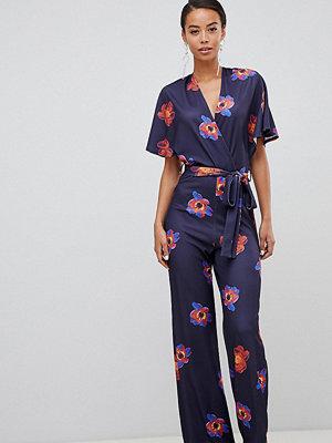 True Violet Tall Blommig jumpsuit med utsvängd ärm Festligt