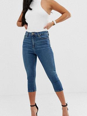 ASOS Petite Ridley Havsblå ankellånga skinny jeans med hög midja Seal blue
