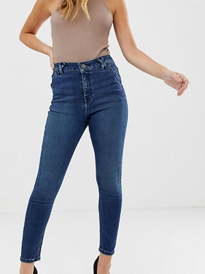 ASOS Petite Ridley Blå skinny jeans med hög midja och detalj på bälteshällorna Mottled blue