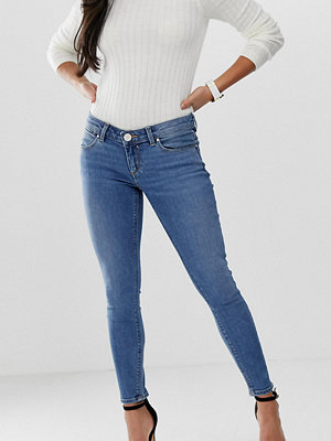 ASOS Petite Whitby Mellanblå skinny jeans med låg midja Rökblå