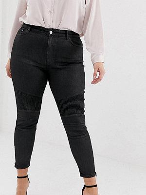 ASOS Curve Ridley Svarta jeans med hög midja och bikerdetalj på knät