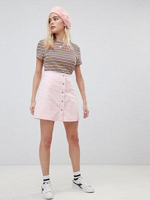 Glamorous A-linjeformad minikjol med knapp framtill Lt pink cord