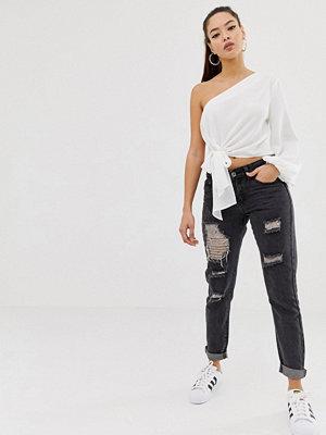 Liquor N Poker Slitna slim jeans i boyfriend-modell Tvättad svart
