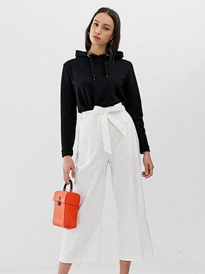 Asos Tall Culotte-byxor i linne med knytning i midjan