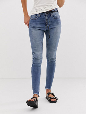One Teaspoon Bite Me Skinny jeans med broderad text Blue blonde