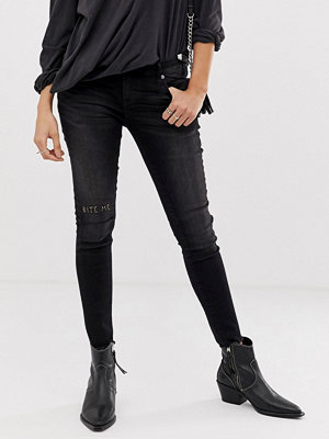 One Teaspoon Freebirds Skinny jeans med slitna knän Jett black