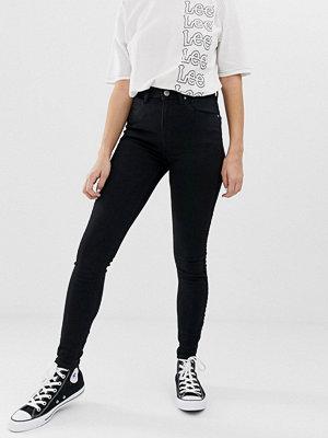 Lee Jeans Lee Scarlett Skinny jeans med hög midja och dragkedja i sidorna Svarttvättad