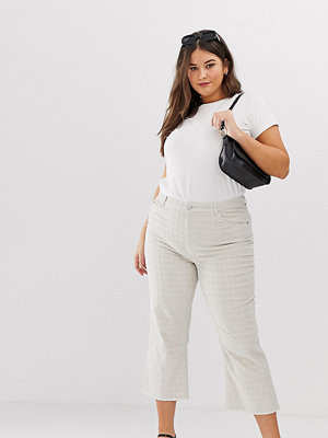 ASOS Curve Egerton Stela ankellånga flare jeans i beigerutig manchester Lera