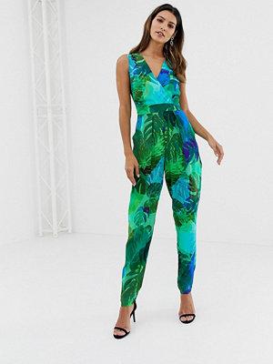 Closet London Closet Grön blommig jumpsuit i crossover-modell