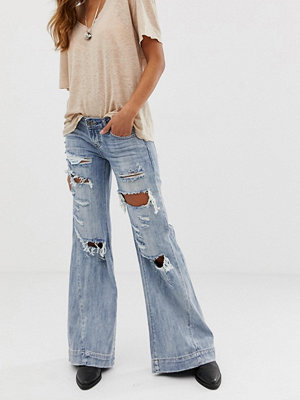 One Teaspoon Bluehearts Superslitna jeans med vida ben Blue heart
