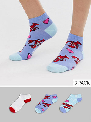 Sock Shop Wild Feet Lobster 3-pack röda träningsstrumpor