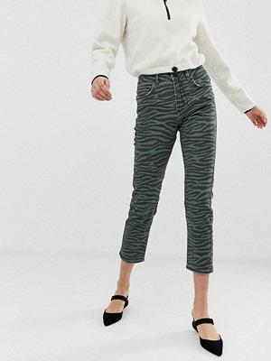 Iden Denim Radclyffe Zebramönstrade skinny jeans Kakifärgad