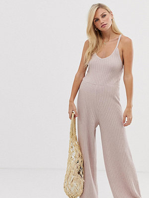 Micha Lounge Ribbstickad jumpsuit med band Gammelrosa