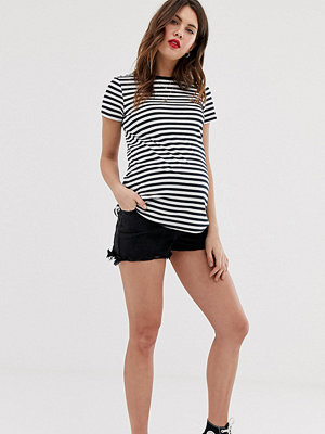 New Look Maternity Svarta jeansshorts i mom-modell