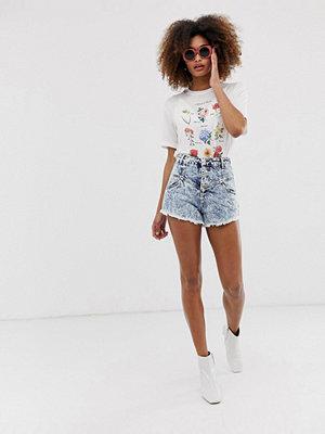 Neon Rose Stentvättade jeansshorts med hög midja Stentvätt