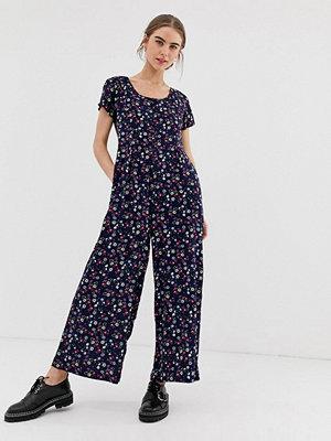Daisy Street Jumpsuit med vida ben och småblommigt mönster i vintagestil Svart blommig