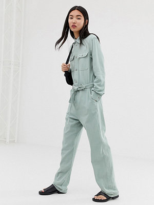 Jumpsuits & playsuits - Weekday Mintgrön overall med knytning i midjan Mintblå