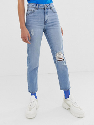 Dr. Denim Edie Ankellånga mom jeans med slitna detaljer Light blue rocks