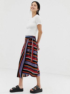 Pimkie Randig kjol med asymmetrisk fåll Ränder
