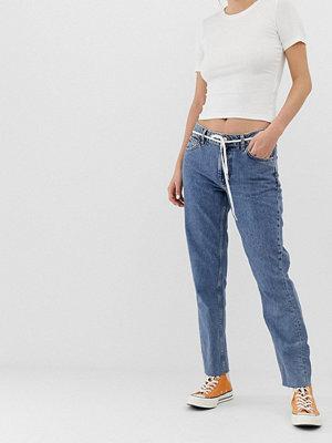 Pimkie Stentvättade medelhöga jeans Sandfärgad