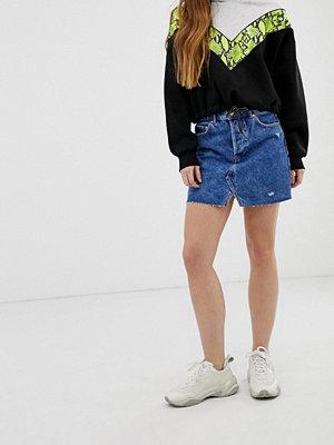 Bershka Blå jeanskjol med 5 fickor