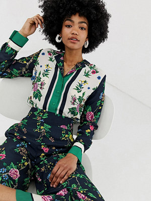 Warehouse Scarf-mönstrad skjorta Grönt mönster