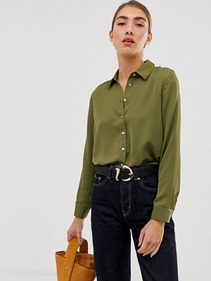 Stradivarius Grön satinskjorta