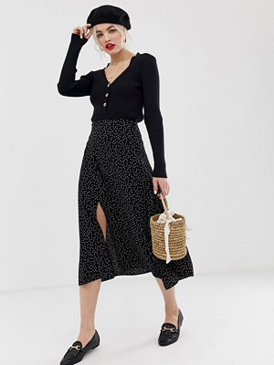 New Look Prickig kjol med slits i sidan Svart mönster