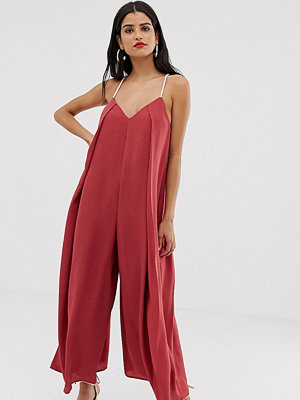 Asos Tall Jumpsuit i minimalistisk design med repdetalj Mörkrosa