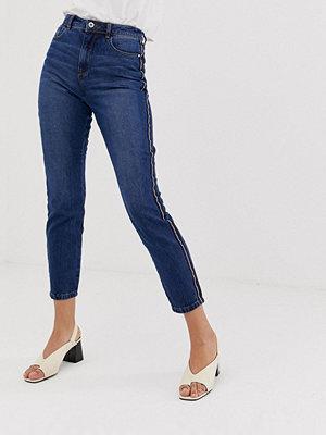 Jdy Danny Mom jeans med rand på sidan Mellanblå denim