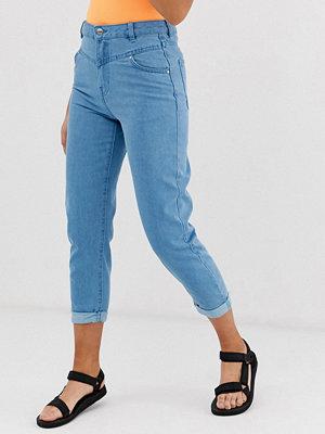 Bershka Blå mom jeans med dekorativ söm