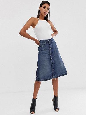 G-Star Arc A-linjeformad jeanskjol i midimodell Med aged