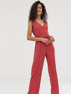 Vero Moda Tall Prickig jumpsuit med skärp Mineralröd