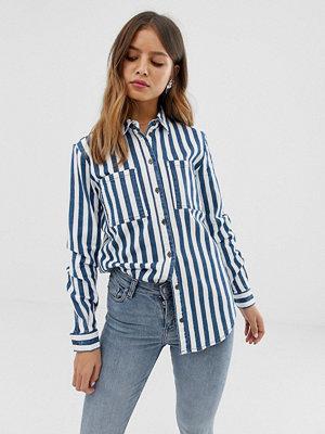 Noisy May Randig jeansskjorta i oversize-modell Flerfärgad