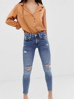 River Island Petite Amelie Mellanblå skinny jeans med revor