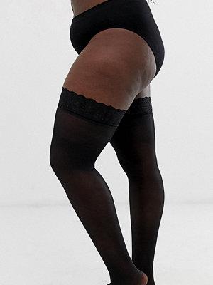 Figleaves Curve Svarta stockings i 15 denier med spetskant