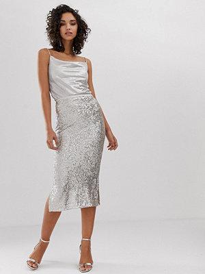 River Island Silverfärgad kjol med paljetter