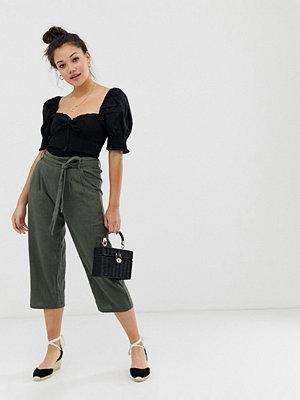 Jdy Culotte-byxor i linne med rynkad midja