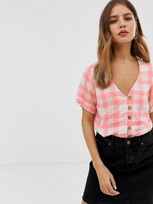 New Look Rutig skjorta med knappar Rosa mönster
