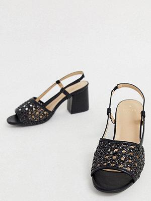 Oasis Svarta vävda sandaler med klack