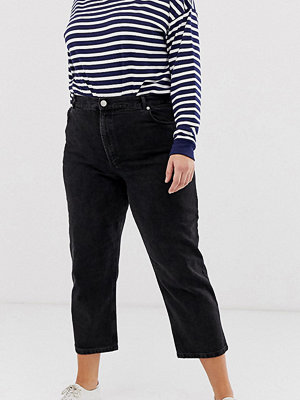 ASOS Curve Florence Kurviga svart autentiska jeans med raka ben Tvättad svart